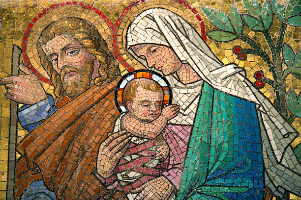 Mosaic of Virgin Mary and Child Jesus Old icon of saint Maria with child religion stock pictures, royalty-free photos & images