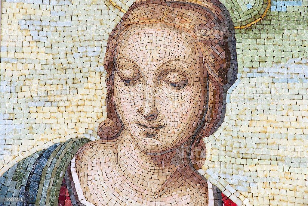 Mosaic of Virgin Mary stock photo