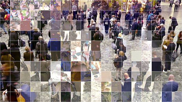Mosaic pixelated waiting people. stock photo
