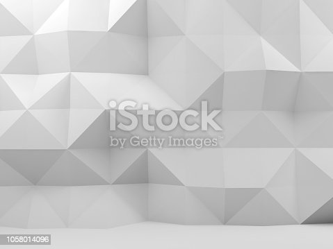 istock Mosaic polygonal pattern on wall, 3d 1058014096