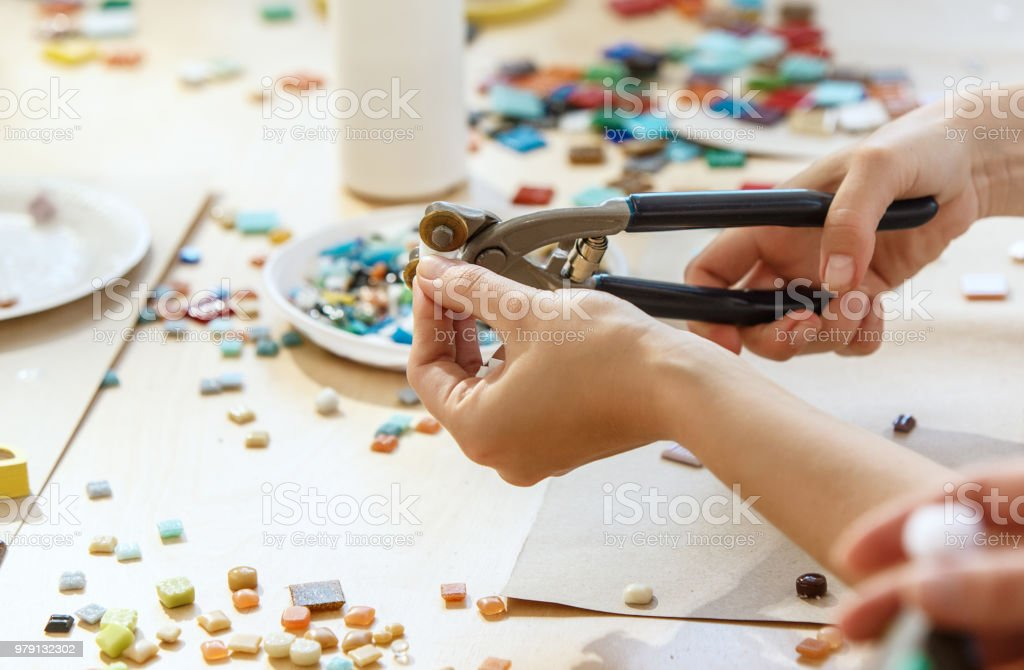 Mosaic Puzzle Art For Kids Childrens Creative Game Stock Photo