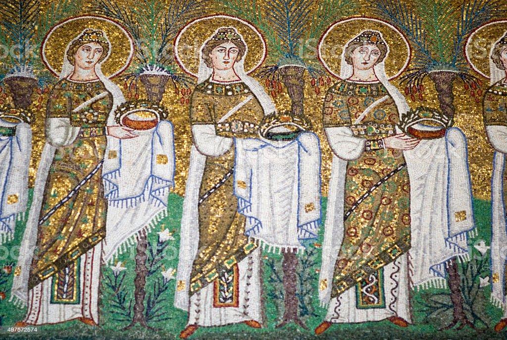 Mosaic the New Basilica of Saint Apollinaris stock photo