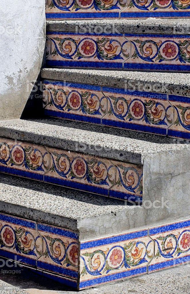 Mosaic Tiled Steps in Mazatlan Mexico royalty-free stock photo