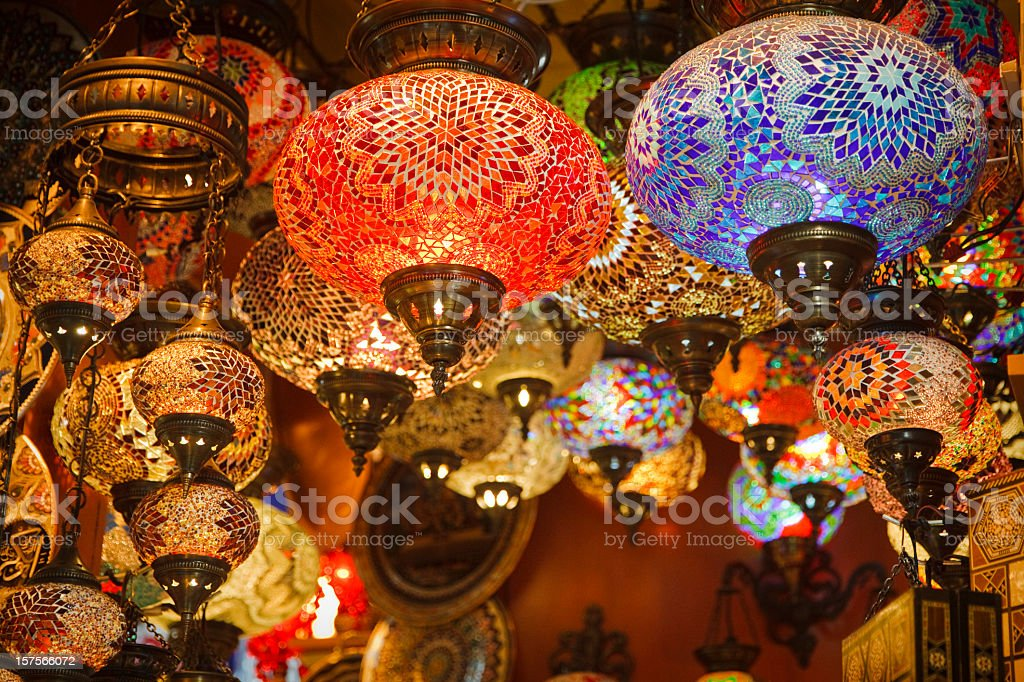 Mosaic Turkish laterns in Grand Bazaar, Istanbul, Turkey stock photo