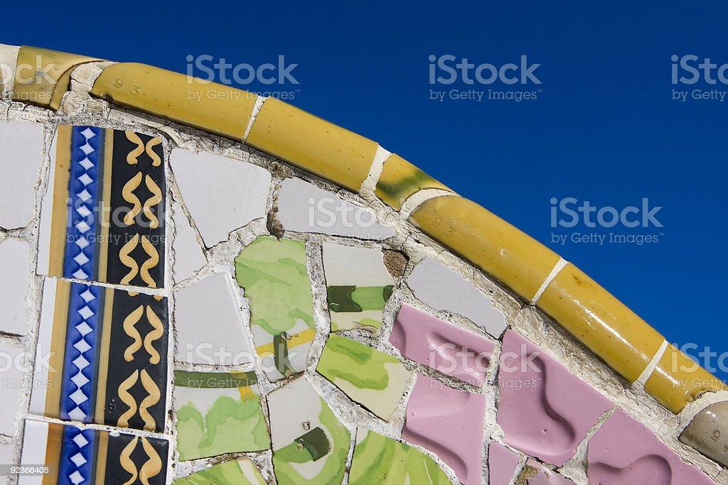 mosaic wall from ceramic broken tile royalty-free stock photo