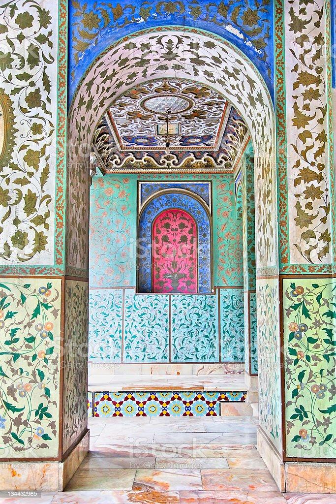 Mosaic wall of Golestan  palace, Tehran royalty-free stock photo