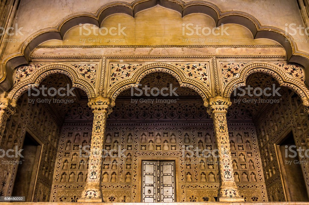 Mosaic walls in Agra Fort in India stock photo