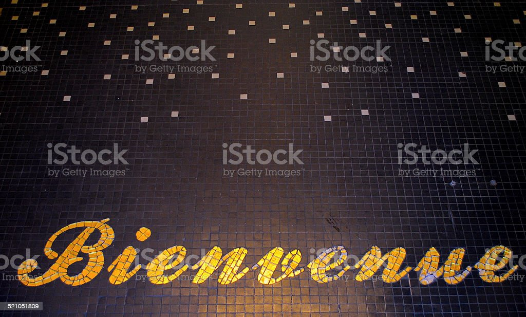 Mosaic Welcome sign in French - Bienvenue stock photo