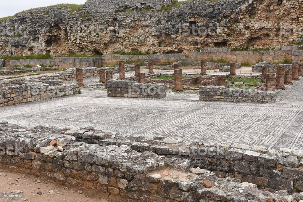 Mosaics of roman ruins of the ancient city of Conimbriga stock photo