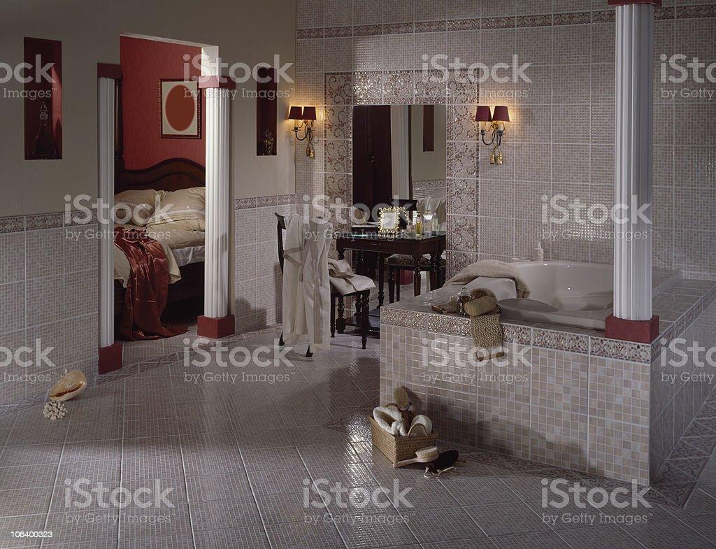 Mosaic-tiled Bathroom stock photo