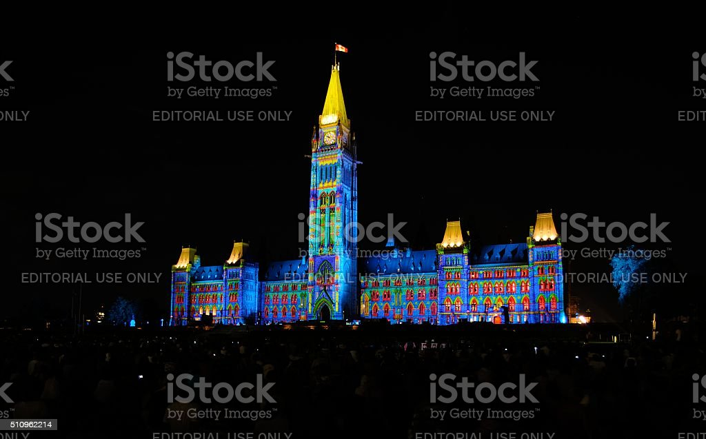 Mosaika Lights on the Parliament of Canada stock photo