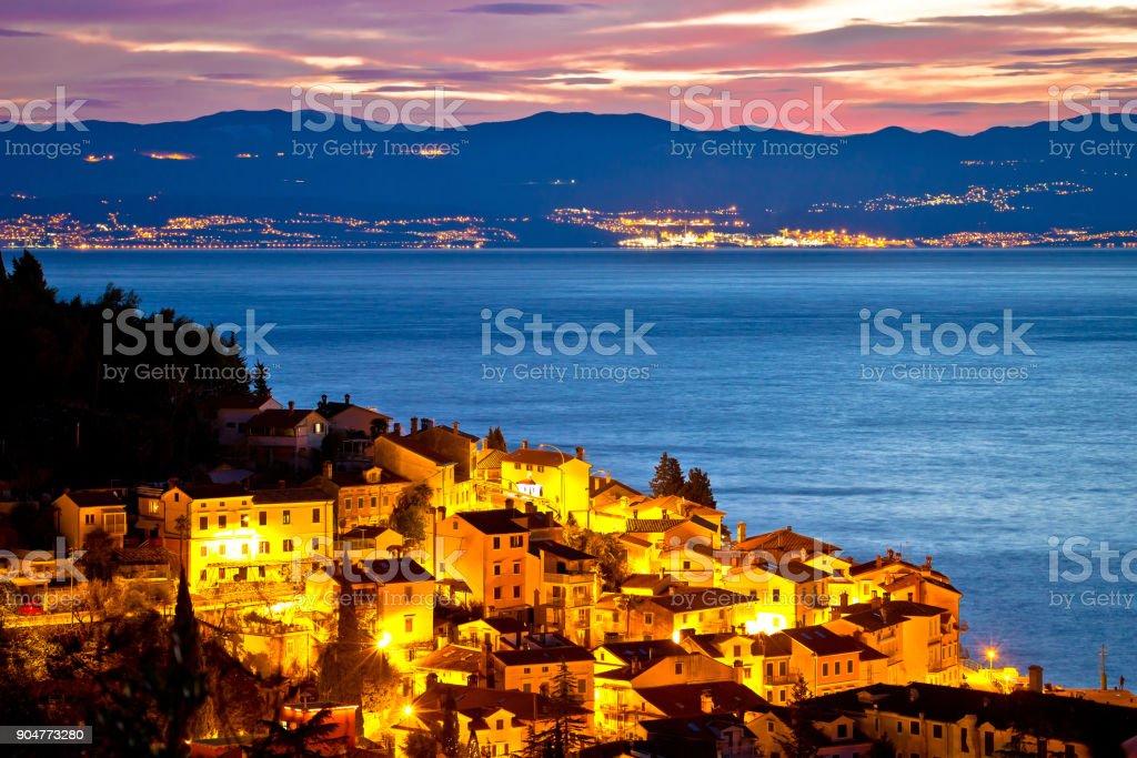 Moscenicka draga village waterfront at dawn, Kvarner bay of Croatia stock photo