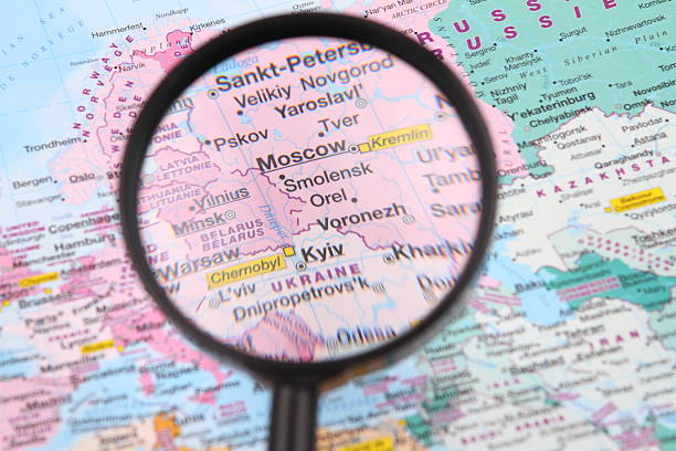 Moscow and Kyiv on the map. stock photo