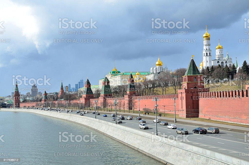 Moscow, cars near Moscow kremlin stock photo