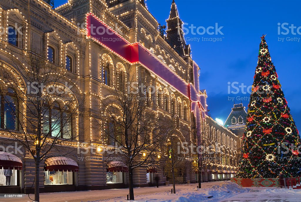 Moscow. Christmas decoration on Red Square. stock photo