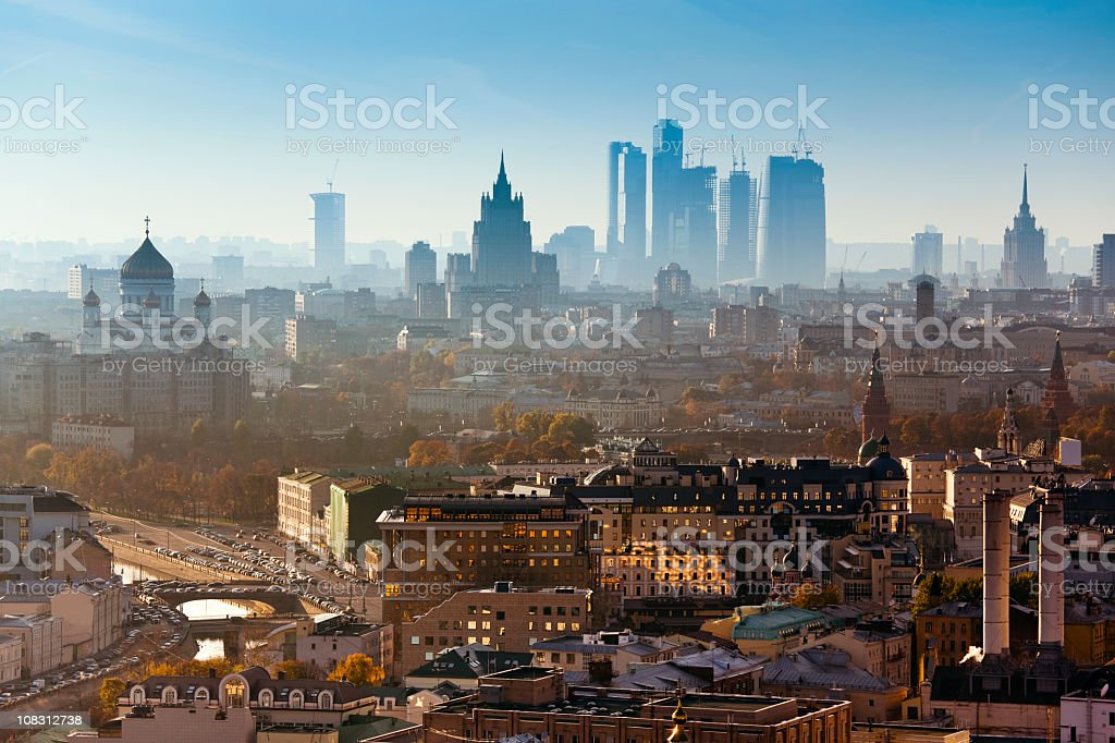 Moscow city. Bird's eye view stock photo