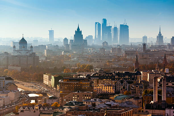 Moscow city. Bird's eye view Moscow Cityscape with  Kremlin Towers, Moscow river, Russian Ministry of Foreign Affairs building, Moscow International Business Center, Cathedral of Christ the Saviour and many others famous buildings and places. moscow russia stock pictures, royalty-free photos & images
