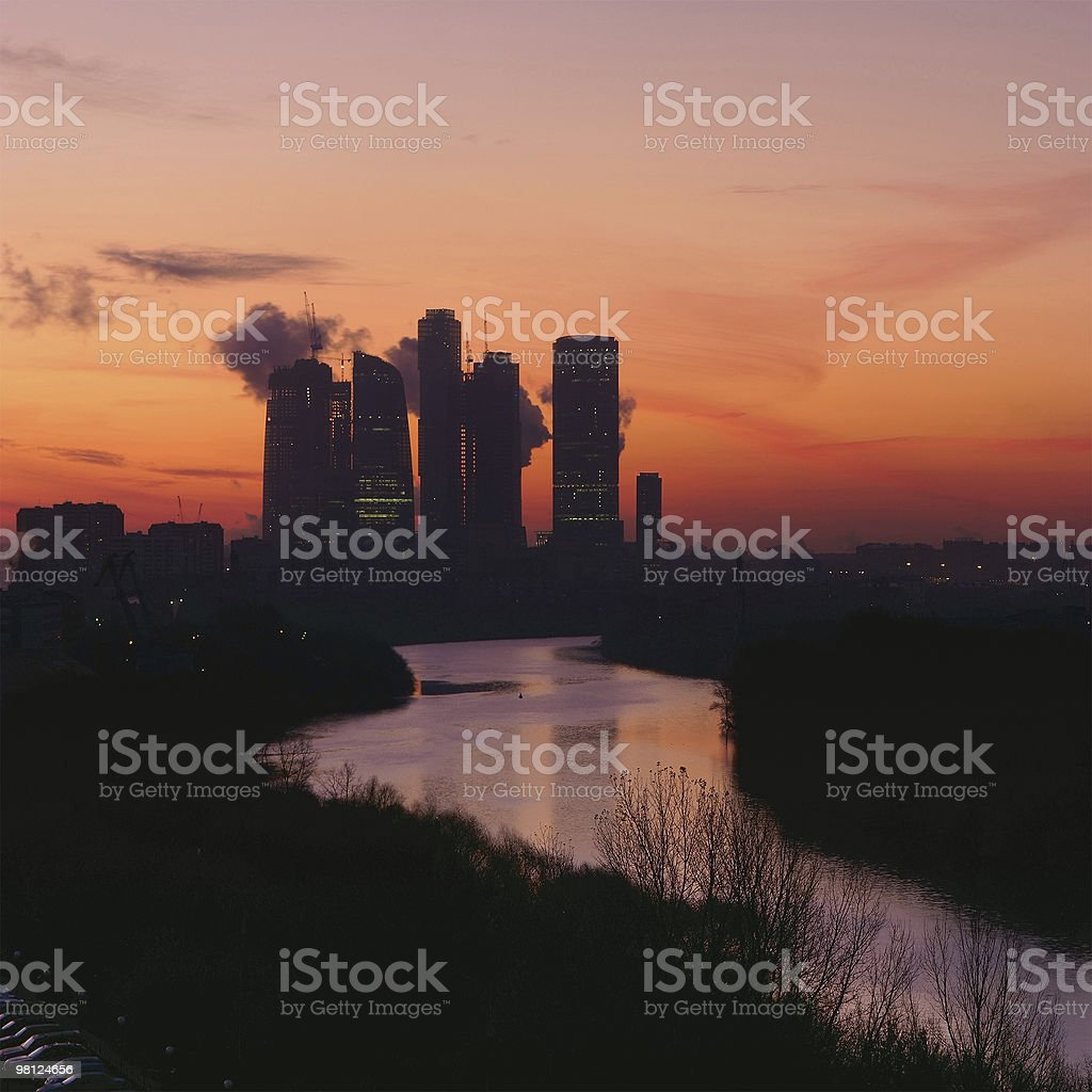 Moscow city center at sunrise time royalty-free stock photo