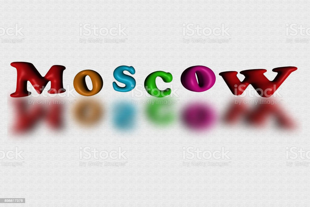 Moscow city lettering on black background. stock photo
