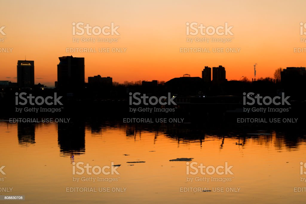 Moscow city silhouette with the Bisness center on shore stock photo