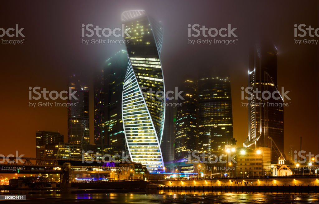 Moscow City skyscrapers Business Center, Russia. Fog, Night stock photo