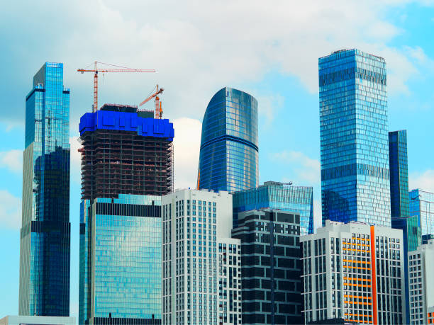 Moscow city skyscrapers modern architecture background stock photo