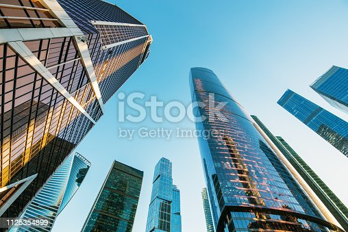 perspective view of skyscrapers in business district