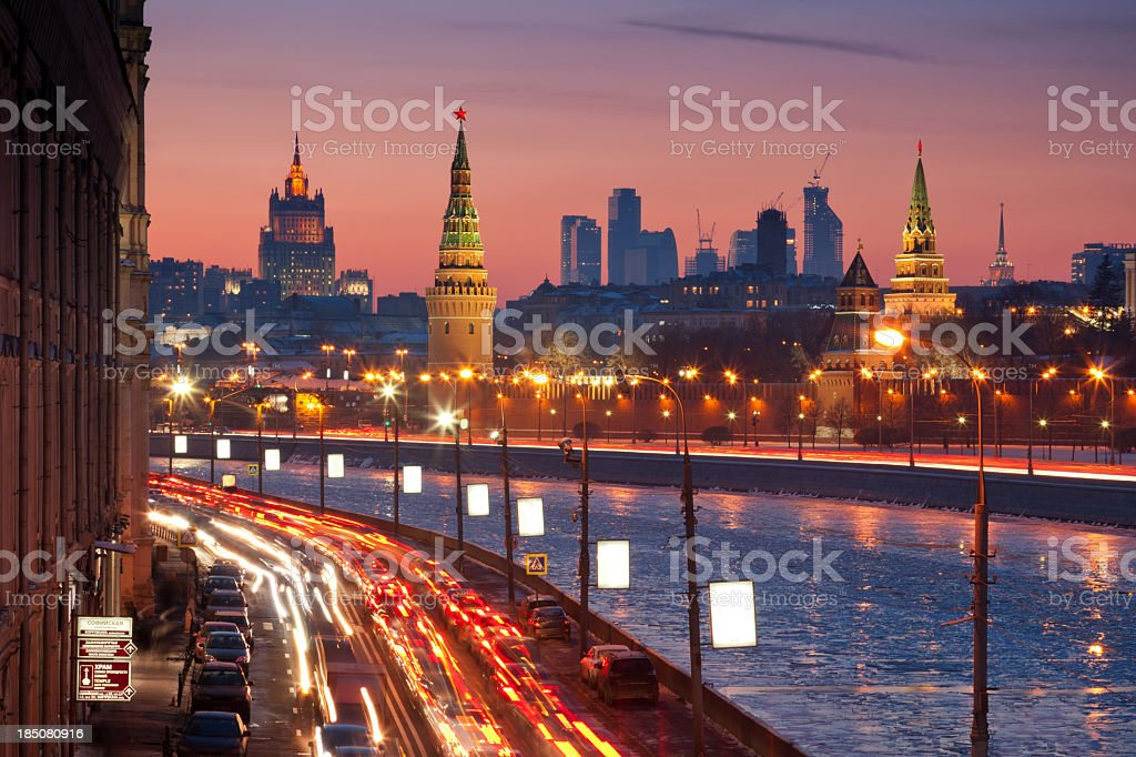 Moscow cityscape in winter stock photo