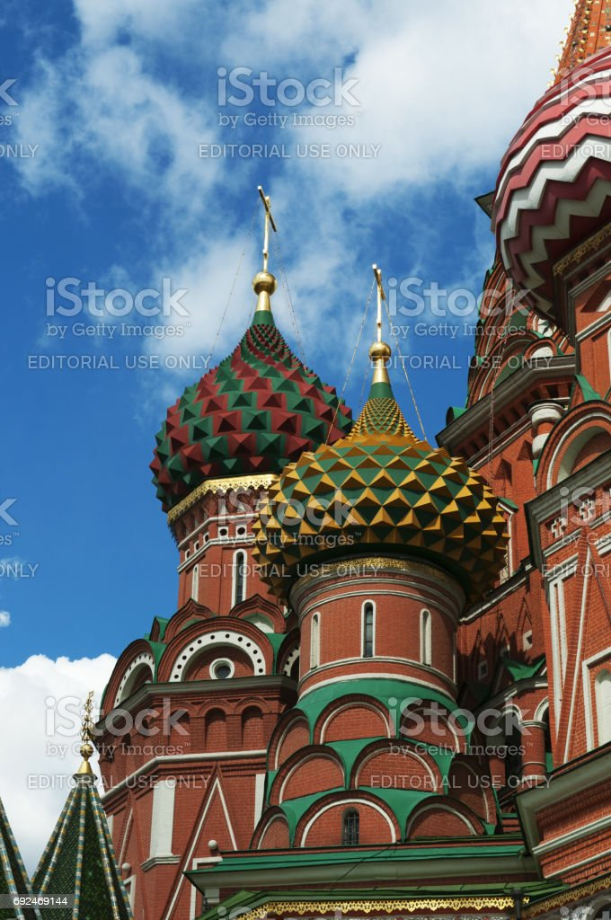 Moscow Details Of The Colorful Domes Of Saint Basils Cathedral The  Worldfamous Russian Orthodox Church Built In The Red Square Stock Photo -  Download