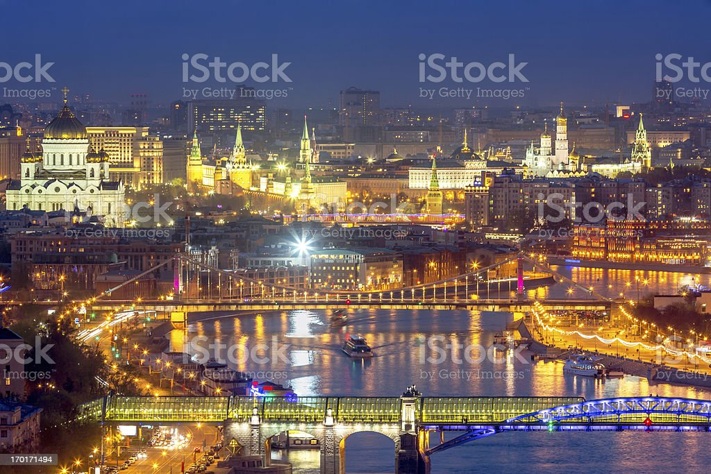 Moscow downtown and river at night stock photo