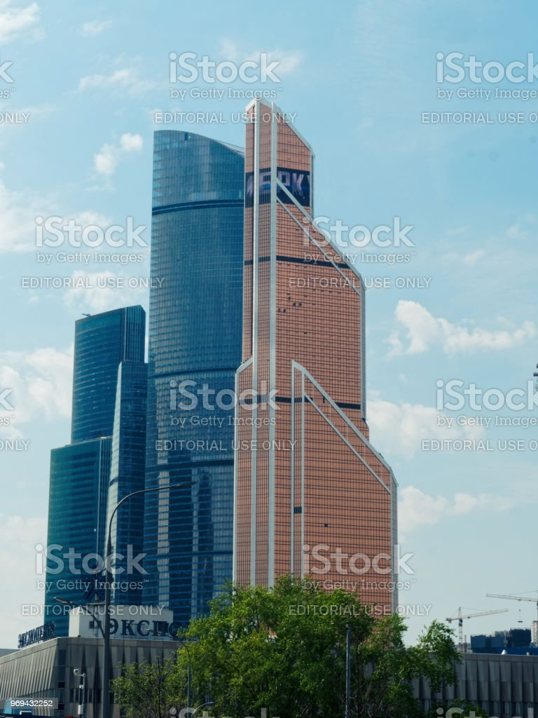 Moscow Expocentre and International Business Centre stock photo