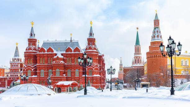 Moscow in winter, Russia. Manezhnaya Square overlooking Moscow Kremlin, top landmark of city. stock photo
