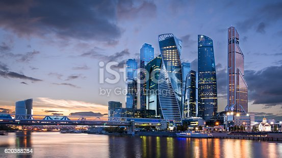 istock Moscow International Business Center at sunset 620388284
