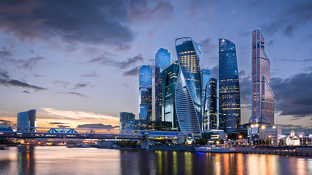 moscow international business center at sunset - ロシア ストックフォトと画像
