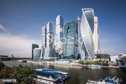 View of futuristic skyscrapers in Moscow International Business Center.