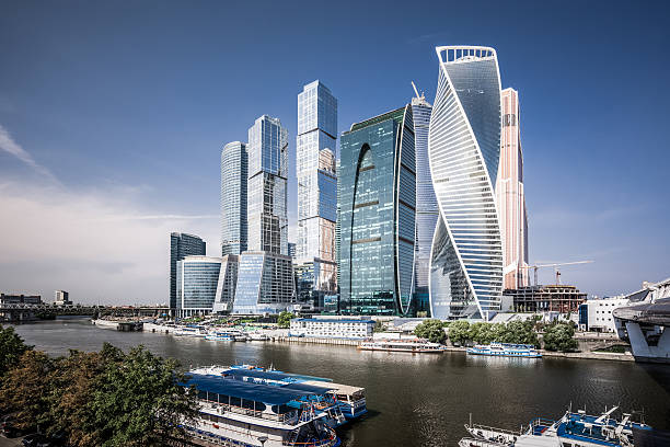 Moscow International Business Center View of futuristic skyscrapers in Moscow International Business Center. moscow russia stock pictures, royalty-free photos & images