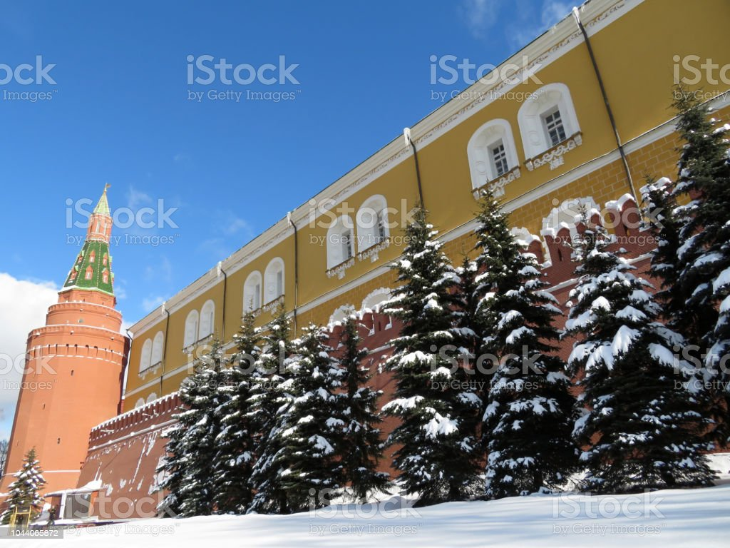 Moscow Kremlin after snowfall, russian winter, blue sky background stock photo