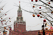 New Year tree in Russia, view of the Spasskaya tower