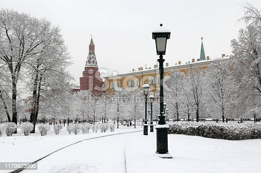Snow in the Alexander garden, cold weather, landmarks of Russia