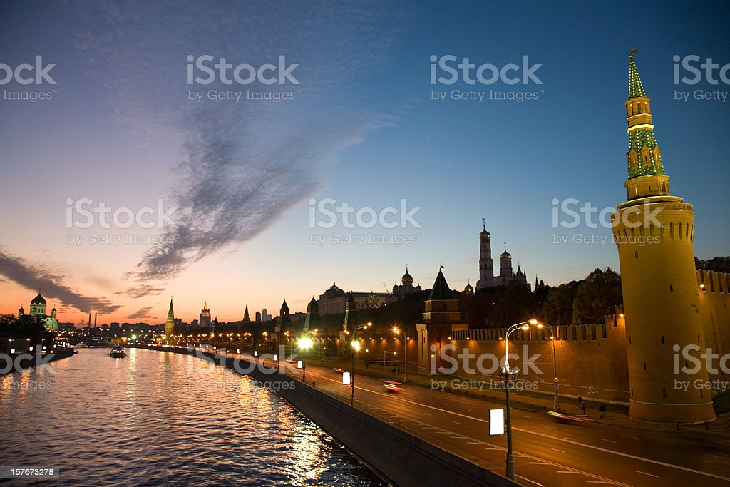 Moscow Kremlin on sunset royalty-free stock photo