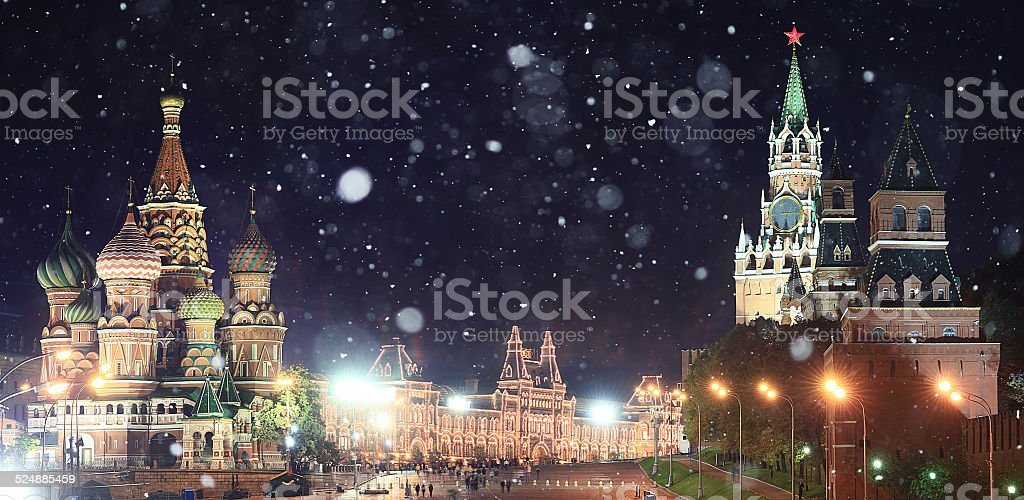 Moscow Kremlin Russian first snow landscape stock photo