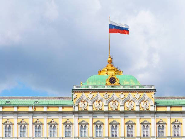 Moscow Kremlin. The Grand Kremlin Palace, the main facade. The palace is the main residence of the President of the Russian Federation. Russian flag Moscow, Russia - May 2018: Moscow Kremlin. The Grand Kremlin Palace, the main facade. The palace is the main residence of the President of the Russian Federation. Russian flag kremlin stock pictures, royalty-free photos & images
