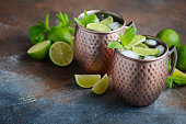 Moscow mule cocktail with ginger beer, vodka, lime and mint in a cooper mugs.