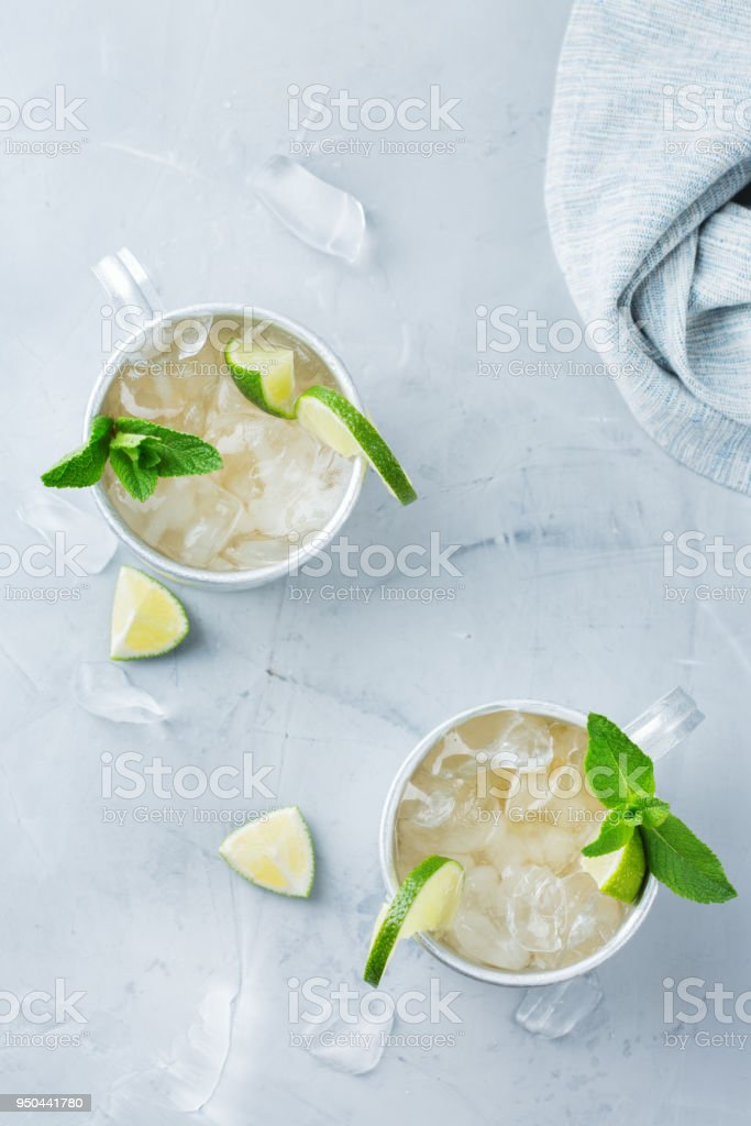 Moscow mule cocktail with vodka, ginger beer, lime and mint stock photo