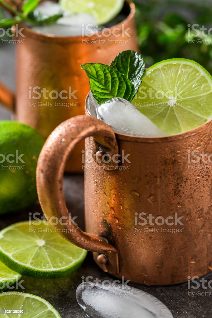 Moscow Mule Copper Mug With Lime And Mint stock photo