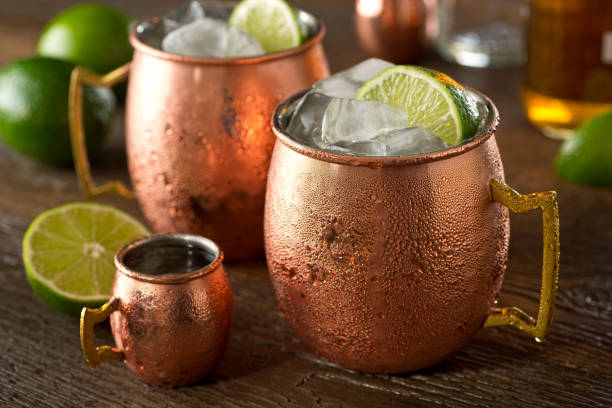 Moscow Mule A delicious moscow mule cocktail with vodka, ginger beer, lime juice and ice. moscow russia stock pictures, royalty-free photos & images