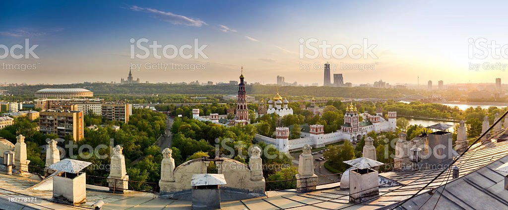 Moscow Panorama. View from roof of old building royalty-free stock photo