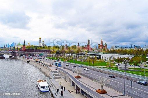 Moscow, Russia - may 2, 2019. Panoramic view of the city center: river, seafront, Kremlin, St. Basil's Cathedral, ancient temples and modern skyscrapers. Copy space.