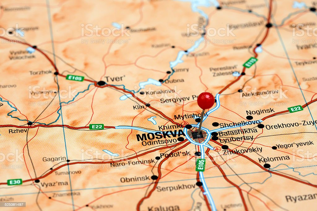 Moscow Pinned On A Map Of Europe Stock Photo More Pictures Of