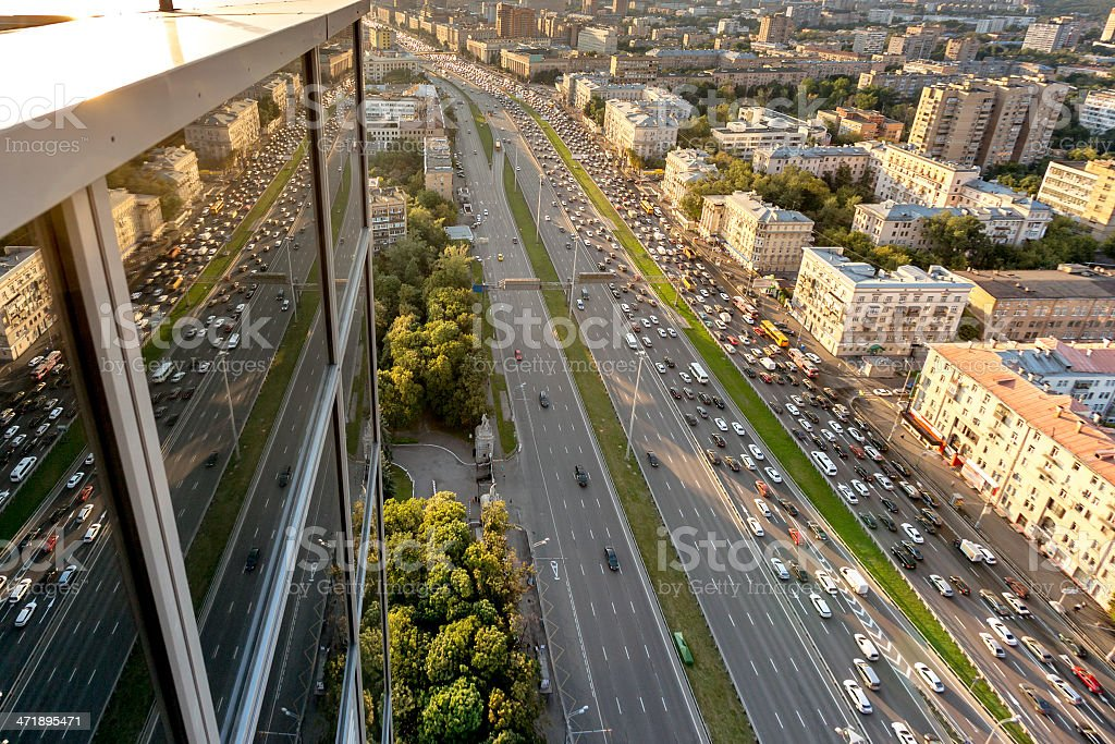 Moscow reflection in mirror windows royalty-free stock photo
